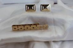Vintage Swank Chain Tie Bar and Avon Cufflink by TwoCatsVintage