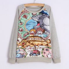 Baru nouveau 2015 sweat à capuche Lengan totoro cetak hoodie sweat kasual capuche adventure time impression femmes tops
