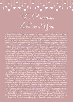 50 Reasons Why I Love You Print - Customized Printable Poster - Printable Sign - Birthday - Anniversary