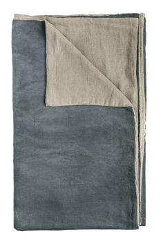 LIBERTE NATURAL / SLATE THROW. Velvet Reversible Throw  Colour: Natural / Slate