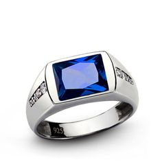 SAPPHIRE Mens Ring NATURAL DIAMONDS Sterling Silver Ring for Man Fine Jewelry #ebay #menstyle #shopping # mensaccessories # handmadering # mensjewelryshop # onlineshopping # menstylefashion