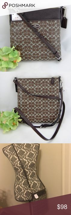 Coach Signature crossbody swingpack 52400 Brown New with tags! Coach Brown CC signature NS Swingpack crossbody purse. Front exterior has slip pocket and zip top closure. Crossbody strap is buckle adjustable. 2 interior wall slip pockets and fabric lining. Care card included! Open to offers, NO trades. Coach Bags Crossbody Bags