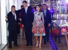 25 September 2017 - Queen Letizia and King Felipe visit Palma Conference Center - dress by Carolina Herrera