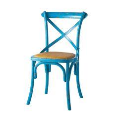 Sedia blu in rattan naturale e massello di legno