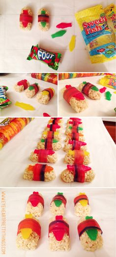 Candy sushi, perfect for kids birthday parties! {eyeheartprettythings.com} Kid Cooking, Kids Cooking Party, Cooking Fails, Birthday Treats For School, Preschool Birthday Treats, Birthday Parties, Naruto Birthday, 13th Birthday, Ninja Birthday Cake