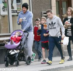The Beckhams Spend Time With Their Little Ones in London: David Beckham walked with his kids, Brooklyn, Cruz, Romeo, and Harper, in London.