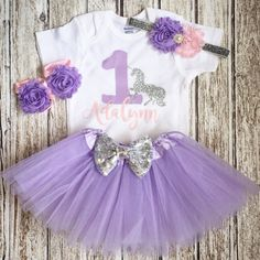 Girls First Birthday Outfit, Pink Lavender Silver,Unicorn theme birthday, Baby…