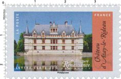 Castle of Azay-le-Rideau | Stamps-France | Pinterest