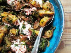 kale and potato hash with sumac, thyme and cumin