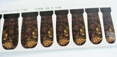golden floral vintage water transfer nail art by GlamourFavor