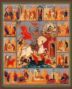 St George Wood  Gold Foil Russian Icon Religious Icons, Religious Art, Patron Saint Of England, Saint George And The Dragon, Russian Folk Art, Russian Icons, Byzantine Art, John The Baptist, Art Icon