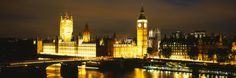 Buildings Lit Up at Night, Westminster Bridge, Big Ben, Houses of Parliament, Westminster, Londo... Photographic Print by Panoramic Images at Art.com