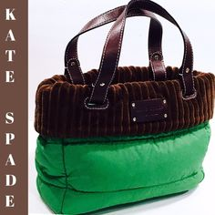 "KATE SPADE ☘Kelly Green☘ & Brown Corduroy Tote Incredibly cute authentic Kate Spade ☘kelly green ☘quilted nylon and thick super soft brown corduroy tote w/dust bag.  Double brown pebble leather carrying handles and monogrammed tag attached to front portion.  Measures 13 1/2"" wide x 9"" high and it is in absolutely excellent pristine condition both inside and out!  In fact, it looks as if it was never used!! kate spade Bags Totes"