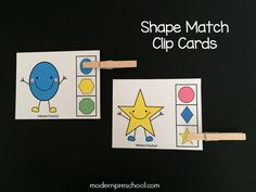 FREE printable shape match clip cards for toddlers and preschoolers. Match the shapes in this independent busy bag activity! Works great as a math center that focuses on visual discrimination, matching, and fine motor skills. Fun Activities For Preschoolers, Toddler Activities, Preschool Activities, Preschool Shapes, Time Activities, Early Learning, Kids Learning, Printable Shapes, Shape Games