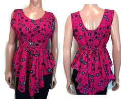 This unique, one-of-a-kind handmade top features a fun, bold star print. The inner bust portion is lined. long, from top of shoulder to shortest/longest hem. across the waist. The mannequin is size XS for reference . Blue Ties, Star Print, Pink Blue, Blouses, Medium, Prints, Ebay, Tops, Dresses