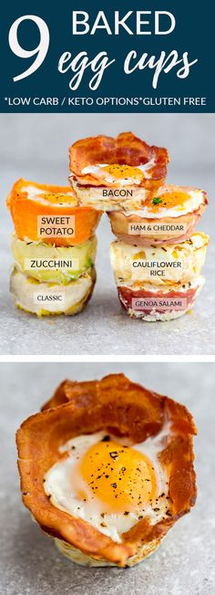 Baked Egg Cups - 9 different ways are the perfect low carb and protein packed breakfast. Best of all, they are super simple to customize and come together in less than 30 minutes! Bacon, Cauliflower & Cheese, Classic, Genoa Salami, Ham & Cheddar, Proscuitto, Sweet Potato, Turnip and Zucchini with keto friendly options. #eggs #breakfast #lowcarb #keto #mealprep #ham #bacon