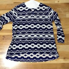 Cute 1/4 sleeve 1/4 sleeve navy blue and cream color.  Sleeves are adjustable.  100% polyester. Worn once.  Excellent condition! Peach love Tops Blouses