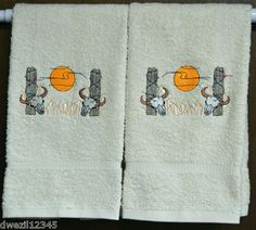 SUNSET WESTERN SCENE SKULLS- AWESOME - 2 EMBROIDERED HAND TOWELS by Susan