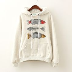 Three Fish Winter Hoodies Grey $29.00 One size fits all