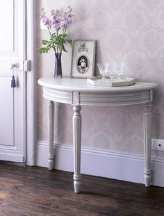 Part Of The Lyon Grey Range, This Half Circle Console Table Is A Country  Look Inspired Piece With A Slightly Distressed Finish That Has A Solid Woou2026