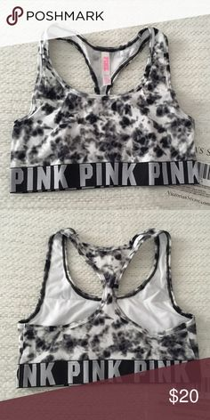 Victoria's Secret PINK Black Tye Dye Sports Bra Victoria's Secret PINK Black Tye Dye Racerback Sports Bra in a size Small. No push up. New in package from an online order. PINK Victoria's Secret Intimates & Sleepwear Bras