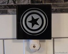 SAMPLE Sell-Off    CAPTAIN AMERICA's Shield Inspired Etched Glass, Glass Etching, Captain America Shield, Wall Tiles, Night Light, Inspired, Handmade, Painting, Inspiration