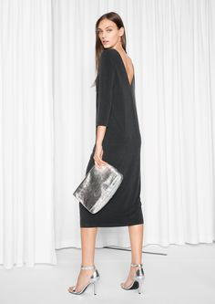 & Other Stories image 2 of Open Back Cupro Dress in Black