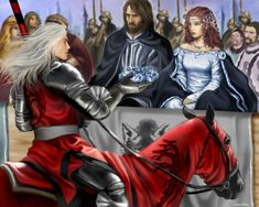 """During the Tourney at Harrenhal, Rhaegar Targaryen seemed unstoppable and defeated even Ser Arthur Dayne, the Sword of the Morning. Taking the winter rose crown for the queen of love and beauty, he revealed his interest in Lyanna Stark by passing over his wife, the Princess Elia of Dorne, and setting it in Lyanna's lap. Eddard Stark later recalled that moment as """"when all the smiles died"""""""