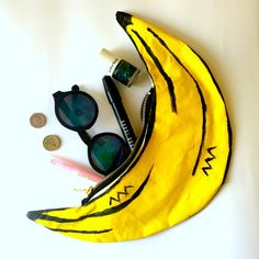 Banana Bag Zip Pouch Clutch Purse by PupTartHandmade on Etsy
