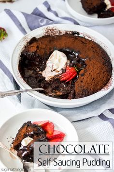 This Chocolate Self Saucing Pudding recipe is rich, chocolatey and total comfort food. It& like a chocolate sponge cake which magically creates it& own chocolate sauce & all in one dish. Chocolate Sponge Pudding, Chocolate Pudding Recipes, Chocolate Desserts, Gourmet Recipes, Sweet Recipes, Dessert Recipes, Fudge, Brownies, Sweets