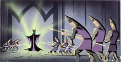 Eyvind Earle Sleeping Beauty Concept Art ~ Maleficent and the Guards