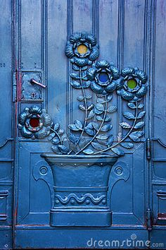 Blue 3-D Flower on Iron Door