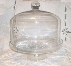 """14"""" Tall Crystal GLASS CAKE STAND & DOME SET~Display CAKE~Wedding Cloche~Server #Unbranded Cake Stand With Dome, Cake Dome, Cake Stands, Cake Wedding, Plates, Display, Crystals, Ebay, Pie Wedding Cake"""