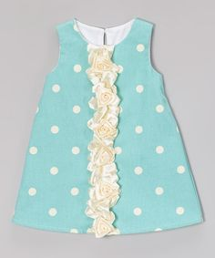 This Seafoam Polka Dot Flower Ruffle Shift Dress - Infant & Toddler by Caught Ya Lookin' is perfect! #zulilyfinds