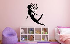 Fairy silhouette wall decal. *****Store Policies****** **Shipping and Payments** -Domestic Shipping Items are shipped via USPS First Class Mail. Delivery usually takes 2-5 days once the item has been