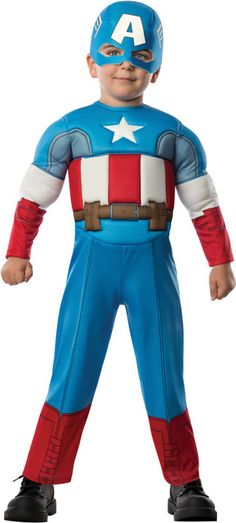 "Marvel Captain America Kids Costume - This patriotic Captain America costume is incredibly cute!   This Captain America jumpsuit is one piece with velcro closure. The front is a slight foam muscle chest inspired from the American flag with a star and red and white striped waist. Underneath is a brown utility belt. Two tan straps tie in the back. There is the Captain America half mask with the ""A"" and side details. #superhero #captainamerica #yyc #calgary #children #costume"