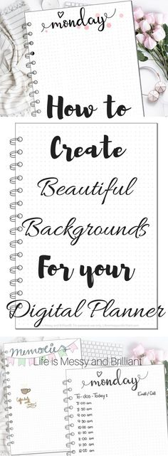 How to Create Backgrounds for Your Digital Planner Pages - tutorial with the Procreate and GoodNotes Apps Agenda Planner, Cute Planner, Planner Layout, Planner Pages, Blog Planner, Happy Planner, Planner Diy, College Planner, Teacher Planner