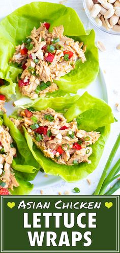 Asian Chicken Lettuce Wraps are a quick healthy low-carb lunch or dinner that does not require any cooking! You can whip Rotisserie Chicken Wrap Recipe, Chicken Wrap Recipes, Healthy Chicken Recipes, Healthy Dinner Recipes, Paleo Recipes, Meal Recipes, Lunch Recipes, Healthy Meals, Free Recipes