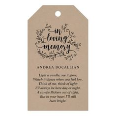 Shop Personalized Rustic Vines Black Kraft, Funeral Tag created by TeeshaDerrick. Personalized Gift Tags, Black And White Man, Think Of Me, In Loving Memory, Favor Tags, Funeral, Twine, Favors, Memorial Ideas
