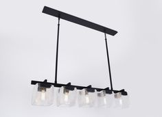 Cambridge Chandelier with mouth blown Crackle glass shades and Oil Rubbed Bronze frame.  www.fuselighting.com
