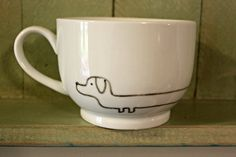 Dachshund Hand Painted Mug // Cup with Dog Drawing on Etsy, $12.00