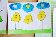 chick watercolor paintings or sponge yellow tempera paint and have kids make beak from construction paper