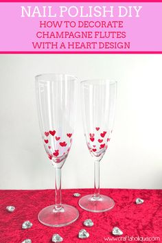 Valentine's Day Crafts: Use nail polish to create a heart design on champagne flutes to make your table setting extra special! See how in this post...