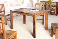 Massiver Design Esstisch JAKARTA 120x80cm Recycling Teakholz Tisch