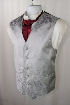 Silver Fox Gamblers Paisley Mens M 40 Vest Cowboy SASS Steampunk Tux Prom 2015 #VesuvioNapoli