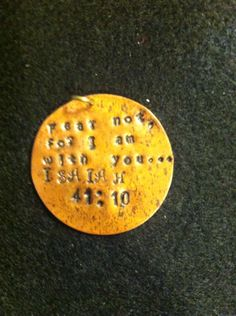 Round brass stamping plate - hand stamped with scripture.