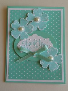 handmade card ... Flower Shop .. monochromatic aqua .. stamped and punched flower trio with a layered die cut label for the sentiment ... sweet! ... Stampin' Up!