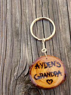 Personalized Grandfather Keychain  Wood Burned by LadyDryad