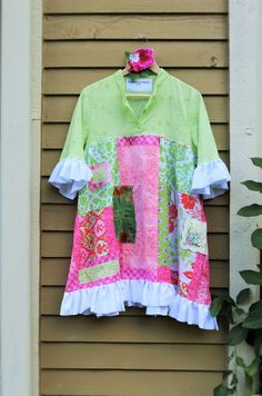 XL Funky tunic dress Upcycled Recycled Clothing by SaidoniaEco