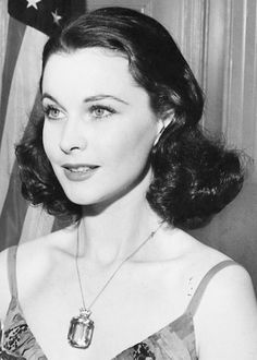 "Vivien Leigh at the Oscar ceremony where she won Best Actress for ""Gone With the Wind"""